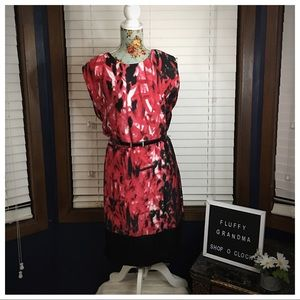 Ann Klein Red Pink Black Dress size 4